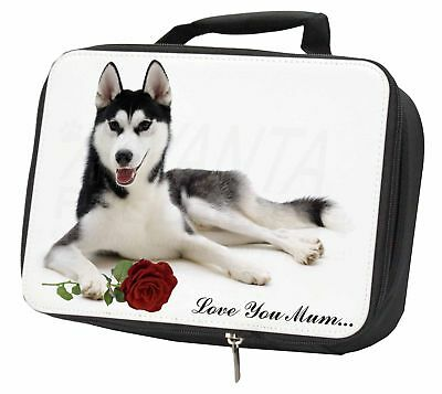 Husky with Rose 'Love You Mum' Black Insulated School Lunch Box B, AD-H55RlymLBB