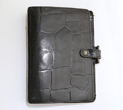 Filofax Winchester 4clf Calf Leather Crocodile Print Black Personal Vintage Rare