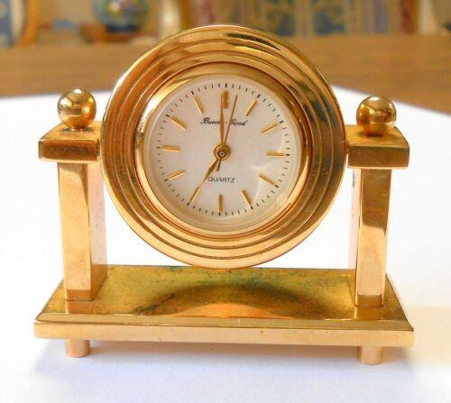 """Beuche Girod Quartz Miniature Mantle Clock 1.75"""" x 1.5"""" Gold Tone BG-MCLK-5010"""