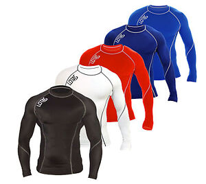 Mens-Compression-Base-Layer-Long-Sleeve-Under-Shirt-Skin-Tight-Top-Body-Armour