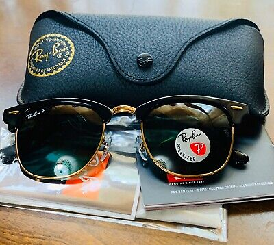 Ray Ban 3016 Clubmaster Polarized Lens 901/58 , Black Frame (Ray Ban Rb3016 W0365)