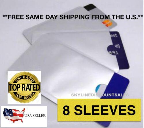 8 PACK HIGH LEVEL RFID Blocking Credit Card Sleeve Protector Shield WaterProof