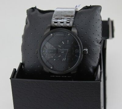 NEW AUTHENTIC DIESEL MINI DADDY DUAL TIME BLACK IP MEN'S DZ7316 WATCH