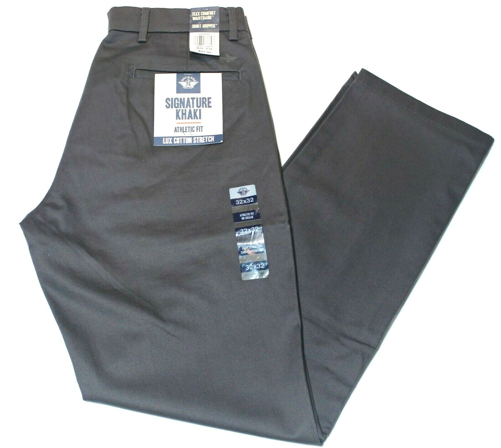 Men Charcoal Gray Dockers Signature Khaki Athletic Fit Comfo