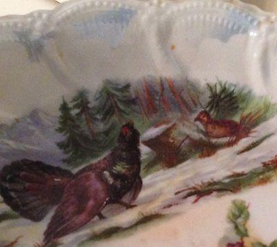 Leuchtenburg  Game Bird Porcelain Serving Bowl Large  circa 1920 German