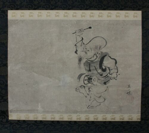 Antique HANABUSA ITCHO Drummer EDO PERIOD Japanese Painting Hanging Scroll NR