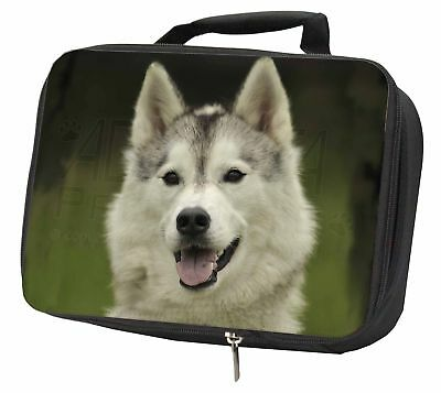 Siberian Husky Dog Black Insulated School Lunch Box Bag, AD-H65LBB