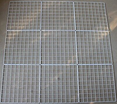 "Mini 14"" x 14"" Wire 1.5"" Grid Storage Cube Organizer Panels Lot of 9 White"