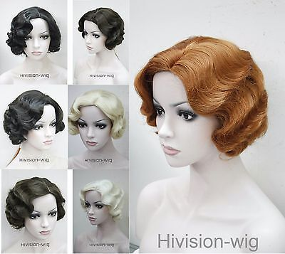 7 colors Short Finger Wave Women Ladies Daily Hair wig Cosplay wigs](Finger Wave Wig)