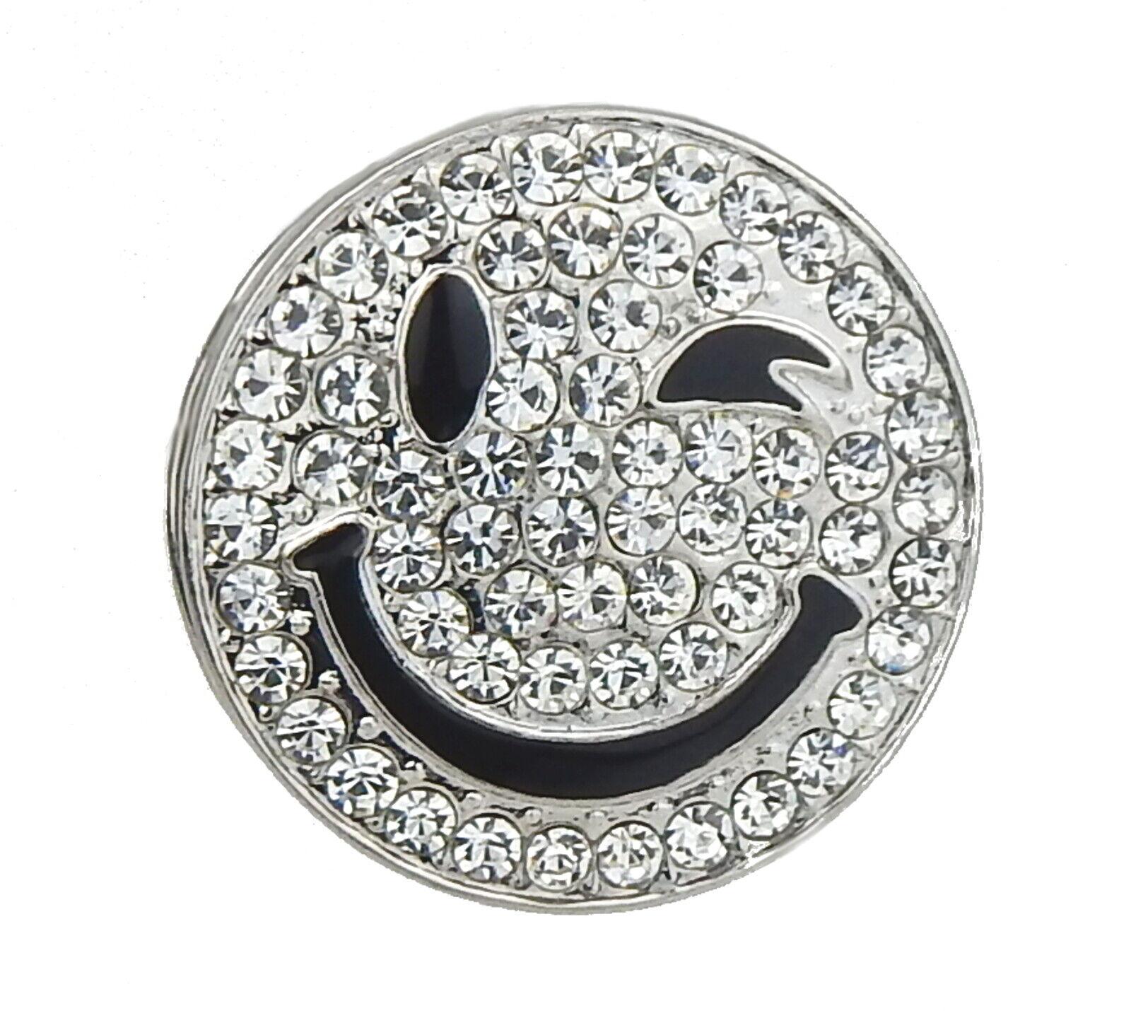 Ella Jonte Magnet Brosche Smiley Emoji silber Strass Magnetbrosche Tuchhalter
