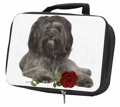 Tibetan Terrier with Red Rose Black Insulated School Lunch Box Bag, AD-TT2RLBB