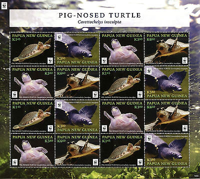 PAPUA NEW GUINEA 2016 MNH PIG NOSED TURTLE WWF 16V M/S TURTLES REPTILES STAMPS