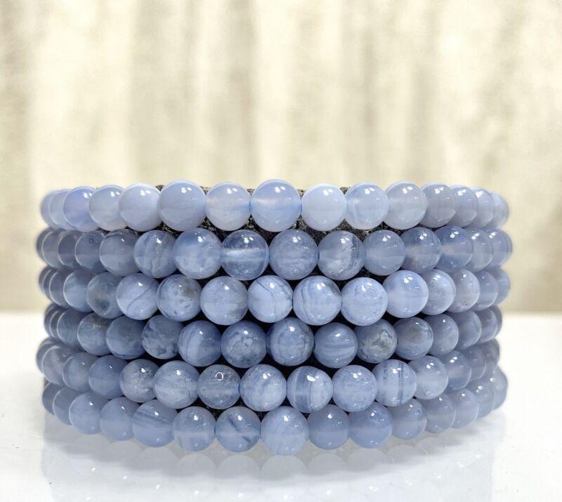 """Wholesale Lot 6 Pcs Natural Blue Lace Agate 5.5mm 7.5"""" Crystal Stretch Bracelet"""