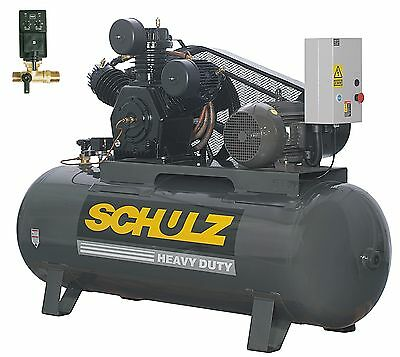 Schulz Air Compressor - 10hp 120 Gallons Horizontal Tank - 208-230-460 Volts