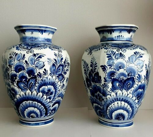 ROYAL DELFT - PAIR OF HUGH VASES 15.4 INCHES - HAND PAINTED RARE