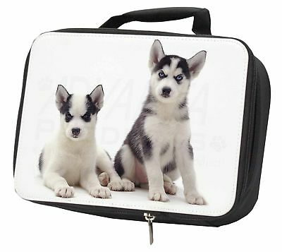 Siberian Huskies Black Insulated School Lunch Box Bag, AD-H63LBB
