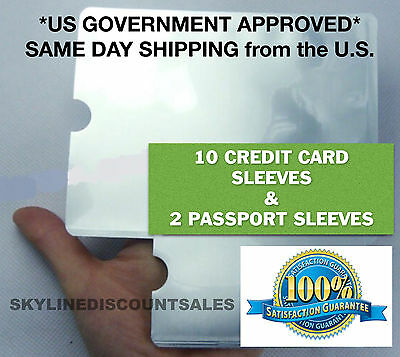 New RFID Blocking 10 Credit Card & 2 Passport Holder Protector Sleeves
