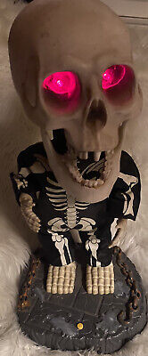 "2001 Gemmy 16"" Big Head Singing Dancing Skeleton Animated Super Freak Perfect"