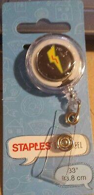 Staples Retractable Id Card Reader Badge Holder Reel Lightning Bolt 33