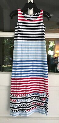 Lands End Girls Jersey Style Dress Long Size For Red White Blue EUC 100% Cotton - Jersey Dresses For Girls