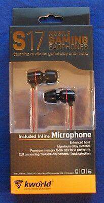 Kworld S17 Mobile Gaming Earphones - Inline Microphone - Foam Tips