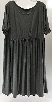 Boohoo Womens Plus Short Sleeve Smock Dress Color Charcoal US:20/UK:24 NWT #