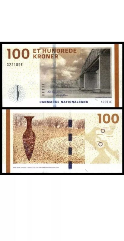 Denmark 100 Kroner Banknote, Danmarks Single Note, Good Condition, Circulated
