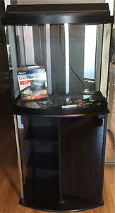 26 gallon bow front fish tank aquarium with stand filter heater