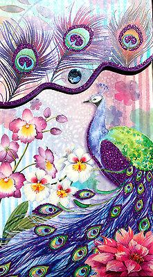 Punch Studio Large Glitter Jewel Pocket Note Pad   Purple Peacock   94693