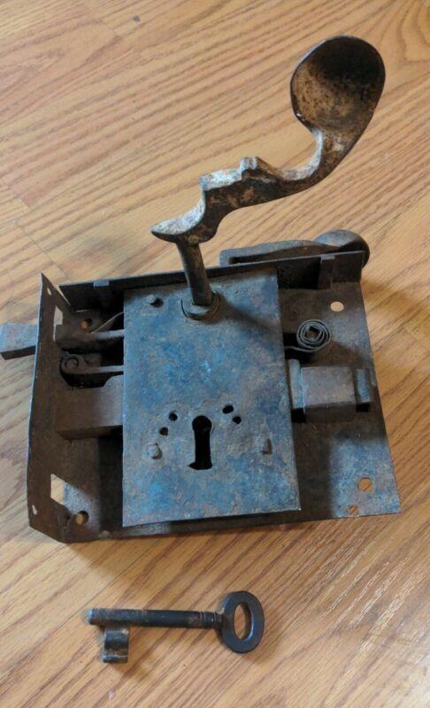 Antique American Door Lock Wrought Iron & Key 19th Century Working