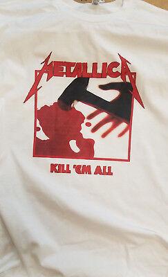 Mens White Short Sleeve Retro Metallica Kill Em All Tee T Shirt S M L Xl 2Xl 3X