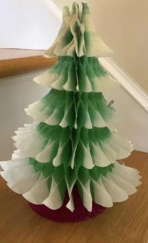 """vintage 10 1/4"""" CHRISTMAS TREE ACCORDIAN TISSUE PAPER HOLIDAY DECORATION Denmark"""