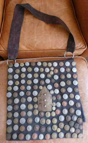 Vintage Antique Moroccan Leather Water Sellers Bag Decorated w European Coins VG