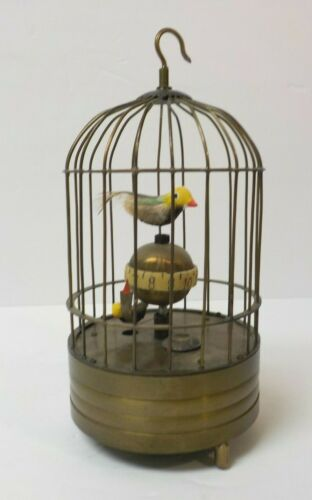 Vintage Bird Birdcage Working Automaton Clock