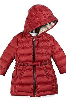 NWT Burberry Girls Hooded Down Puffer Coat Baby red Size 6 Month $375 Gift