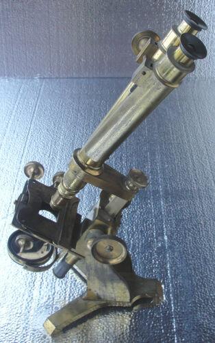 Antique Brass Binocular Microscope In Case by Joseph Casartelli 1859 AWESOME!