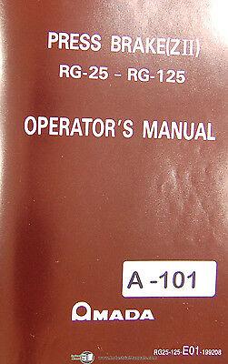 Amada Zii Rg-25 Rg-125 Press Brake Install Operations Maintenance Manual