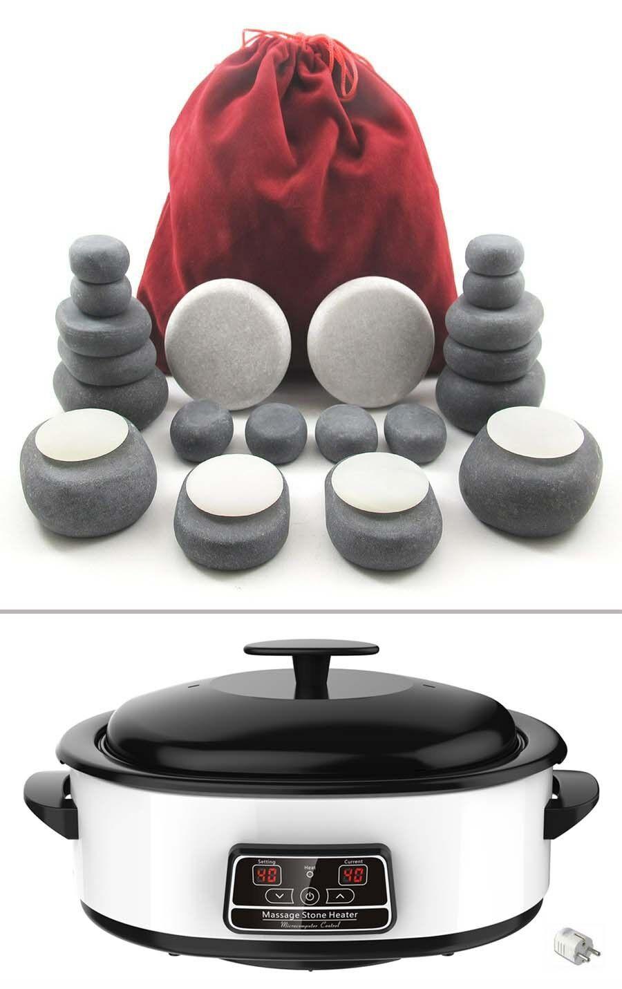 Hot Stone Massage Kit 24 Basalt & Marmorsteine +  Wärmegerät 6 Liter