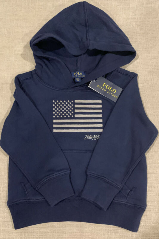 NWT Polo Ralph Lauren Boys Navy Embroidered USA Flag Hoodie Jacket Pullover S 8