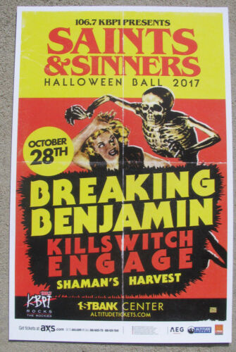 BREAKING BENJAMIN & KILLSWITCH ENGAGE Halloween Denver Colorado 11x17 Gig Poster