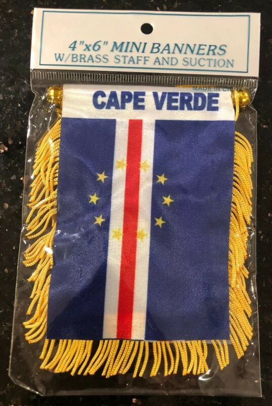 "Cape Verde 🇨🇻 4 X 6"" MINI BANNER FLAG CAR WINDOW MIRROR HANGING W Suction New"
