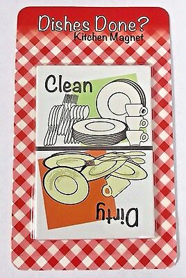 METAL DISHWASHER MAGNET Image Of Dirty Dishes/ Clean Dishes **FREE SHIPPING**