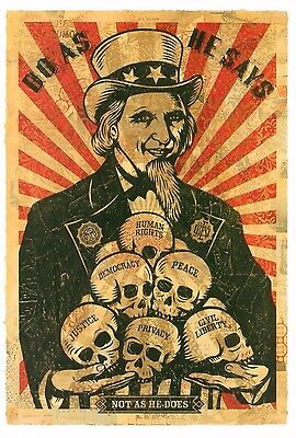 Obey Giant Shepard Fairey Poster Print Uncle Sam Uncle Scam Skull US Treasury