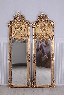 Zwei Wandspiegel Barock Spiegel Gold Frauenbüsten Rechts & Links