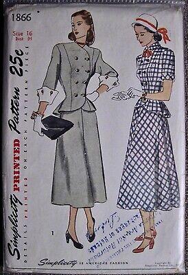 Vtg UNCUT 1945 Simplicity Ladies 2 Pc Suit 2 Style Sleeves Pattern #1866 Sz 16