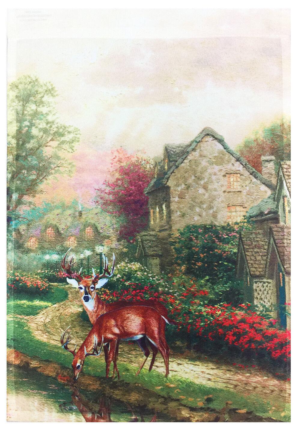 cottage and deer garden flag 12 x18