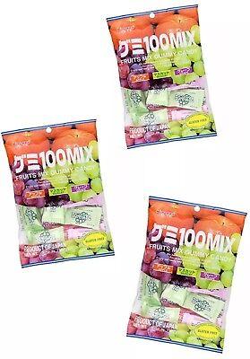 Mix Gummy - 3 X bags Japanese Fruit Mix Gummy Candy Kasugai Apple Muscat Grape 3.59 oz