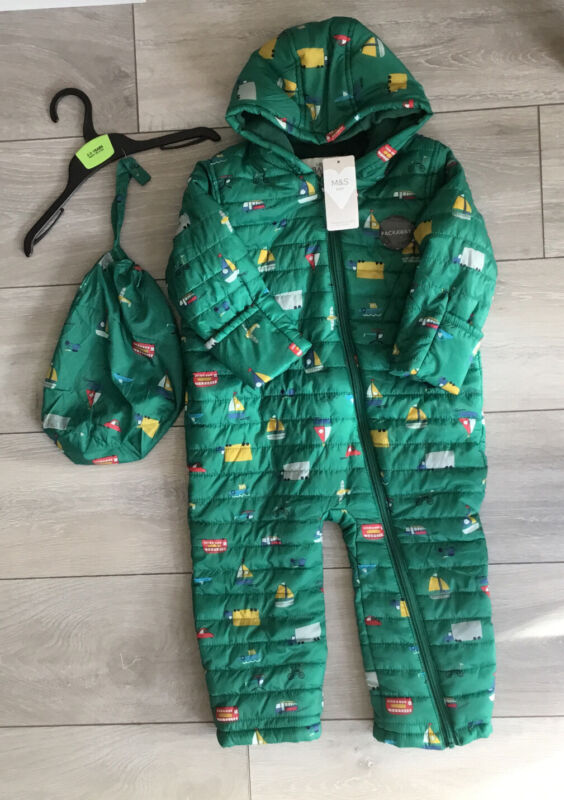 Marks & Spencer Pack Away Snowsuit Green with vehicles pattern age 2 - 3 years