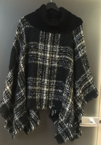GINA BENOTTI toller PONCHO CAPE ÜBERWURF schwarz grau weiß Fransen  One Size