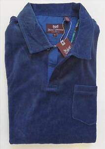 $125 MENS HICKEY FREEMAN CASUAL NAVY BLUE TERRY CLOTH NO BUTTON POLO SHIRT SZ XL
